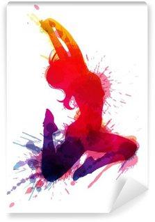 Vinyl Fotobehang Dansend meisje met grungy spatten