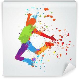 Vinyl Fotobehang Dansende jongen silhouet