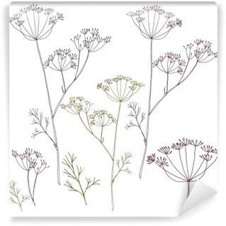 Vinyl Fotobehang Dille of venkel bloemen en bladeren.