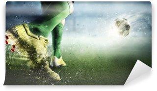 Vinyl Fotobehang Doelmoment bij voetbal