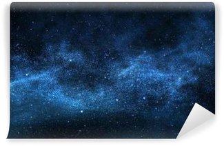 Vinyl Fotobehang Donkere nachtelijke hemel met fonkelende sterren en planeten, illustratie