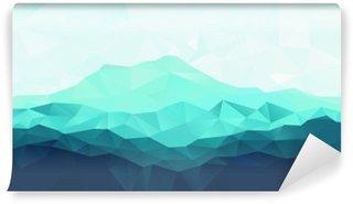 Vinyl Fotobehang Driehoek geometrische achtergrond met blauwe bergen