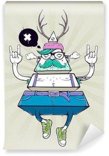 Vinyl Fotobehang Driehoek hipster bizar karakter