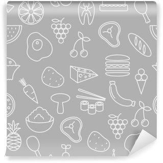 Vinyl Fotobehang Dunne lijn pictogrammen naadloos patroon. Eten, groenten en fruit pictogram grijze achtergrond voor websites, apps, presentaties, kaarten, sjablonen of blogs.