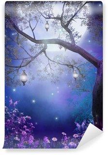 Vinyl Fotobehang Enchanted weide van paarse bloemen