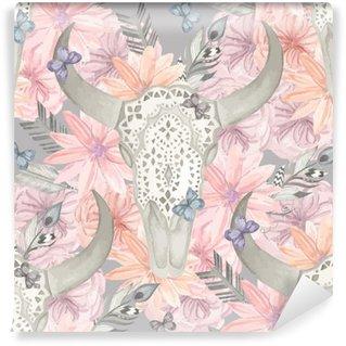 Vinyl Fotobehang Etnisch naadloos patroon. Schedel van de stier in de bloemen
