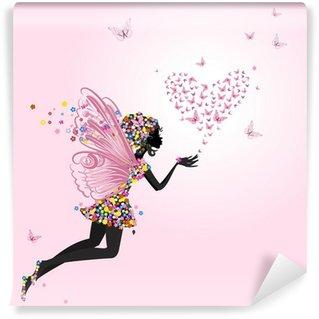 Vinyl Fotobehang Fee met een Valentijn van vlinders
