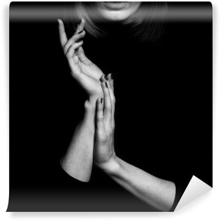 Vinyl Fotobehang Femme fatale concept. Oude klassieke films actrice stijl.