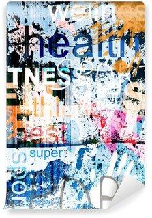 Vinyl Fotobehang FITNESS. Word Grunge collage op de achtergrond.