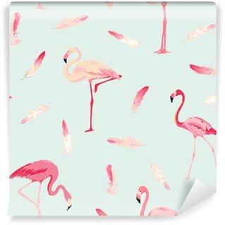 Vinyl Fotobehang Flamingo Bird Achtergrond. Flamingo Veer Achtergrond. Retro Naadloos Patroon