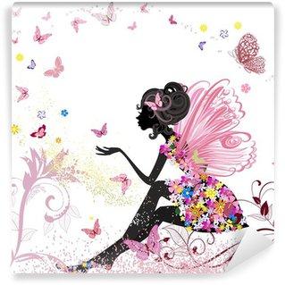 Vinyl Fotobehang Flower Fairy in het milieu van de vlinders