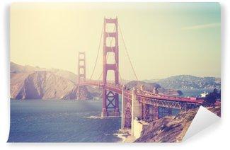 Vinyl Fotobehang Foto met vintage-tint van de Golden Gate Bridge