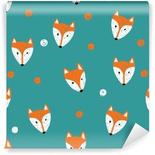 Vinyl Fotobehang Fox naadloos patroon. Doodle achtergrond.