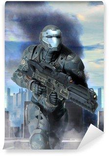 Vinyl Fotobehang Futuristische soldaat armor op oorlog