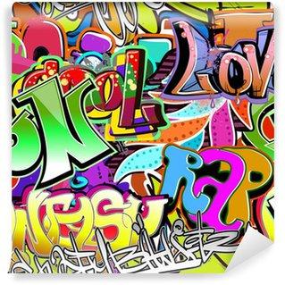 Vinyl Fotobehang Graffiti muur. Stedelijke kunst vector achtergrond. Naadloze patroon