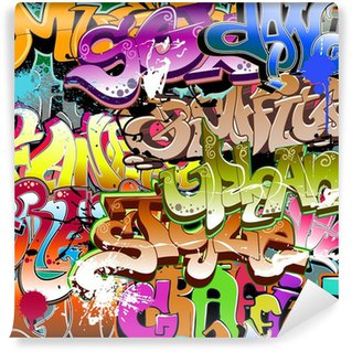 Vinyl Fotobehang Graffiti naadloze achtergrond. Stedelijke kunst textuur