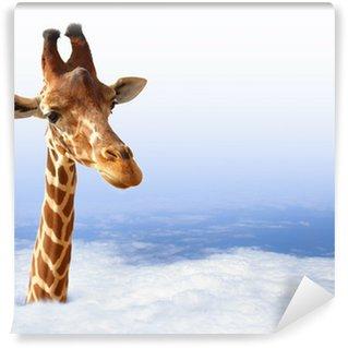 Vinyl Fotobehang Grappige giraf met die uit de wolken