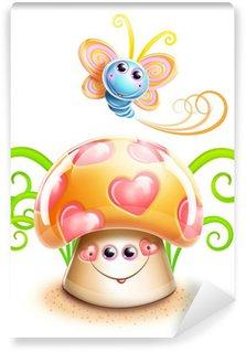 Vinyl Fotobehang Grillige Cute Kawaii Cartoon Vlinder en Mushroom