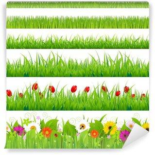 Vinyl Fotobehang Grote Gras En Flower Set