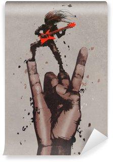 Vinyl Fotobehang Grote hand in de rock n roll tekenen met gitarist, illustratie painting