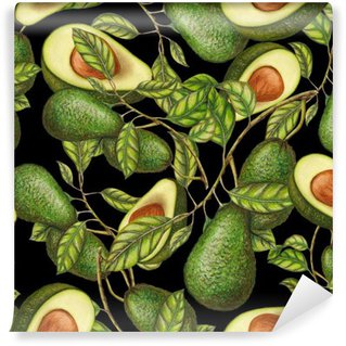 Vinyl Fotobehang Hand getrokken avocado's op een donkere achtergrond, naadloos patroon