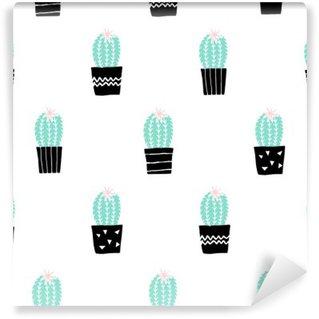 Vinyl Fotobehang Hand Getrokken Cactus Pattern