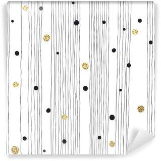 Vinyl Fotobehang Hand getrokken naadloos patroon op witte achtergrond met een dunne lijn
