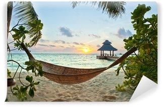 Vinyl Fotobehang Hangmat op het strand