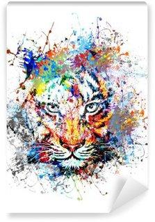 Vinyl Fotobehang Heldere achtergrond met tijger