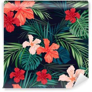 Vinyl Fotobehang Heldere kleurrijke tropische naadloze achtergrond met bladeren en
