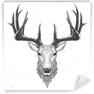 Vinyl Fotobehang Herten hoofd op wit