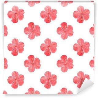 Vinyl Fotobehang Hibiscus. Naadloos patroon met bloemen. Met de hand getekende achtergrond