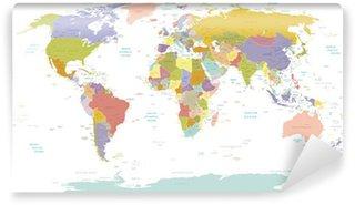 Vinyl Fotobehang High Detail Wereld map.Layers gebruikt.