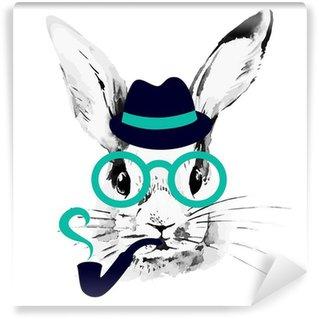 Vinyl Fotobehang Hipster konijn. Hand getrokken waterverfschets portret