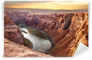 Vinyl Fotobehang Hoefijzerbuiging in de Colorado rivier in een diepe kloof