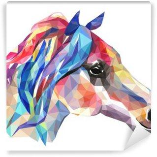Vinyl Fotobehang Hoofd van het paard, mozaïek. Trendy stijl geometrische op een witte achtergrond.