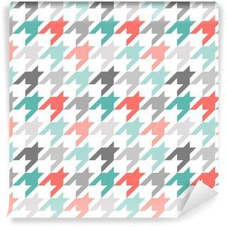 Vinyl Fotobehang Houndstooth naadloze patroon, kleurrijke
