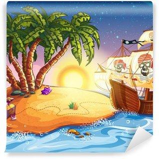 Vinyl Fotobehang Illustratie van schateiland en piratenschip