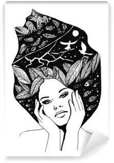 Vinyl Fotobehang __illustration, grafisch zwart-wit portret van vrouw