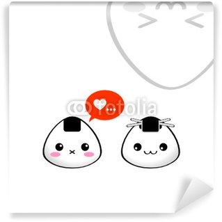 Vinyl Fotobehang Japanse rijst ballen (onigiri) in de liefde. Kawaii stijl.