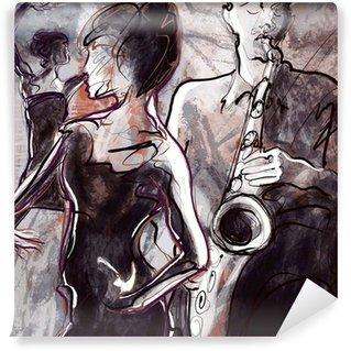 Vinyl Fotobehang Jazz band met dansers