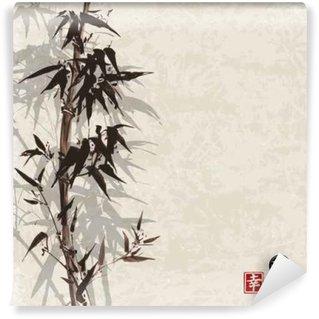 Vinyl Fotobehang Kaart met bamboe op vintage achtergrond in sumi-e stijl. Hand-getekend met inkt. Bevat hiëroglief - geluk, geluk