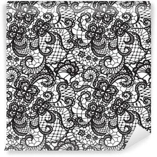 Vinyl Fotobehang Kant zwarte naadloze patroon met bloemen op witte achtergrond