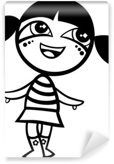 Vinyl Fotobehang Kawaii kleurplaten cartoon meisje