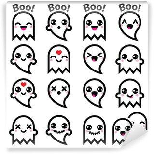 Vinyl Fotobehang Kawaii leuk spook voor Halloween pictogrammen instellen