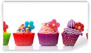 Vinyl Fotobehang Kleurrijke cupcakes met bloemen