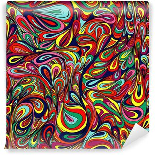 Vinyl Fotobehang Kleurrijke gestreepte en blad achtergrond.