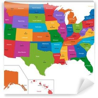 Vinyl Fotobehang Kleurrijke kaart van de VS met staten en hoofdsteden