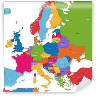 Vinyl Fotobehang Kleurrijke kaart van Europa met de landen en hoofdsteden