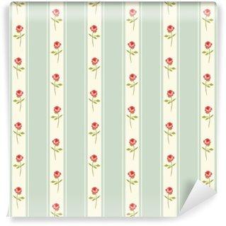 Vinyl Fotobehang Leuk naadloos Shabby Chic patroon met rozen en polka dots ideaal voor keuken textiel of bed linnen stof, gordijnen of interieur behang ontwerpen, kan worden gebruikt voor schroot het boeken papier, etc